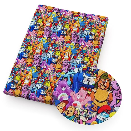 80s Cartoon Character Mashup Fabric