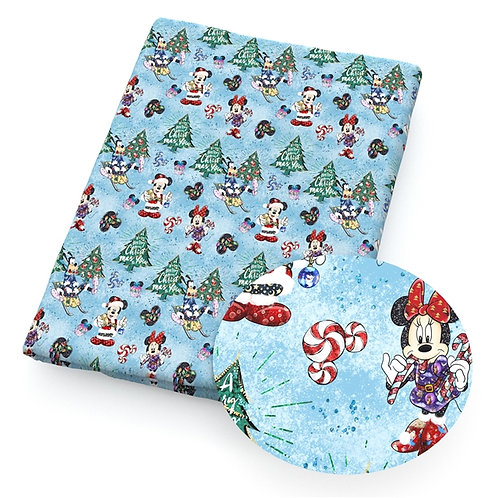 Christmas - Mouse Blue Christmas Fabric