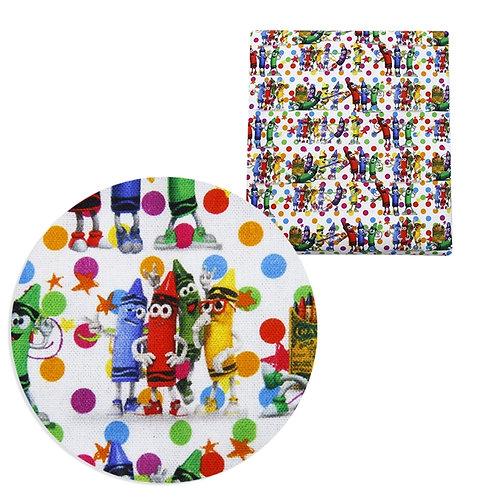 School Essentials Crayons Fabric
