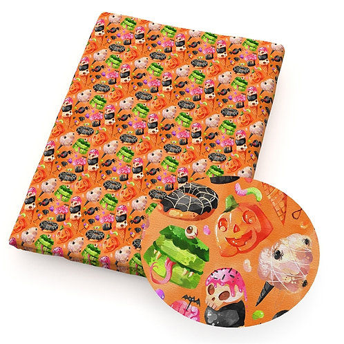 Halloween Treats Orange Fabric