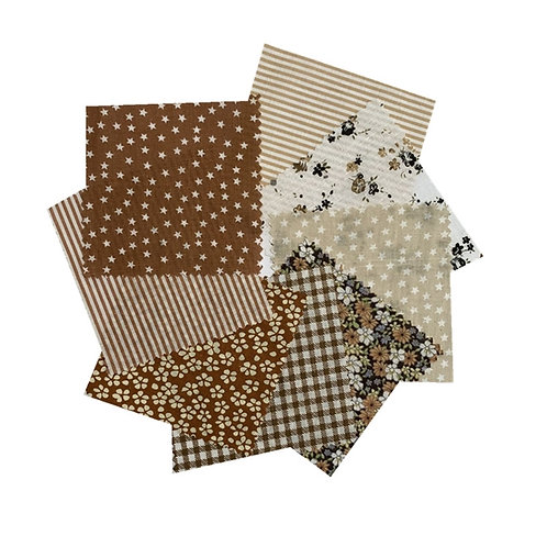 Floral Cotton Fabric Set, Coffee 8pc