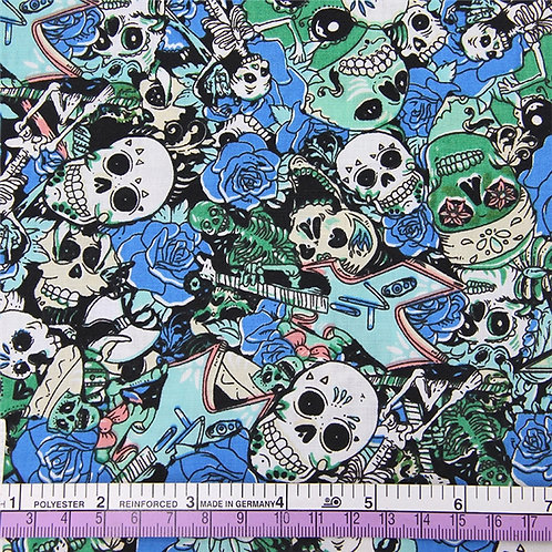 Skulls Blue Fabric