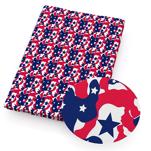 Camo Red White and Blue Fabric