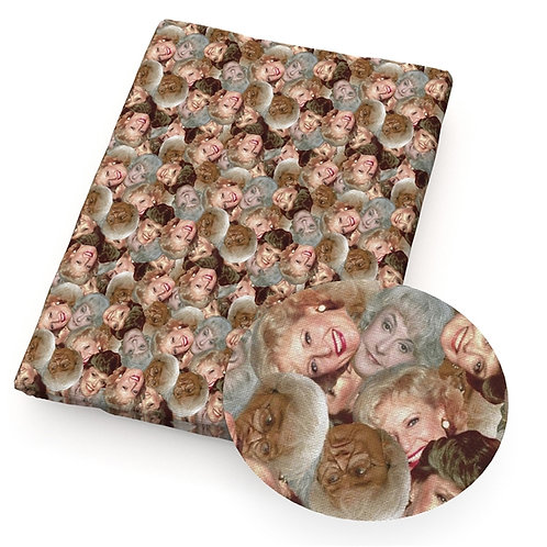 Golden Years Faces Fabric