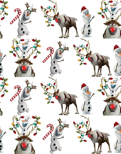 Christmas - Reindeer and Snowman Fabric