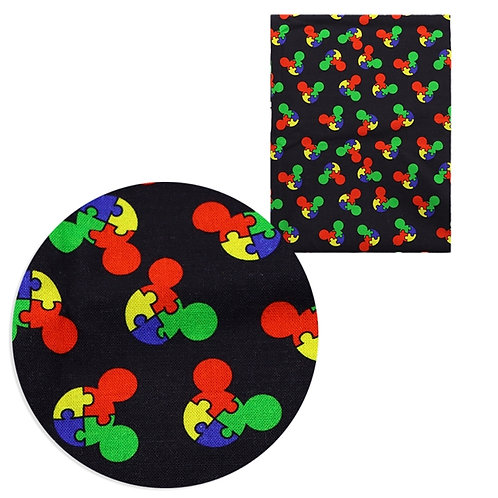 Mouse Puzzle Piece Fabric