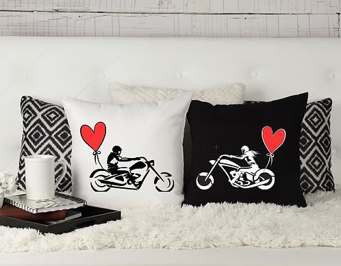 "Throw Pillow Covers ""Biker Couple"""