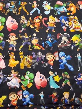 Retro Super Game Characters Fabric