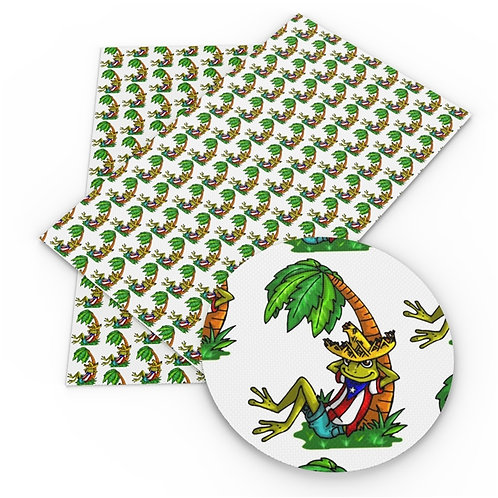Flags - Puerto Rico Frog Fabric