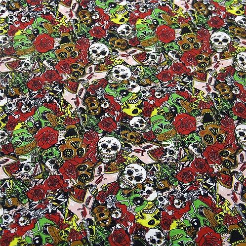 Skull Red Fabric