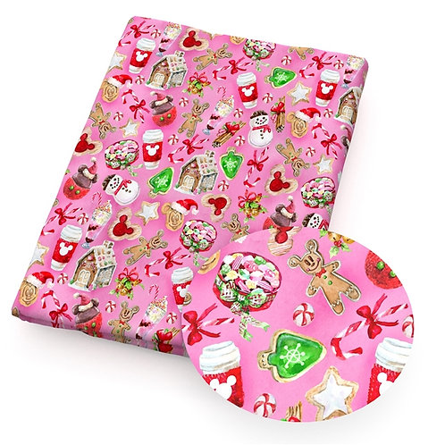 Christmas Treats Pink Fabric