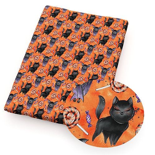 Hallween Bats and Cats Fabric
