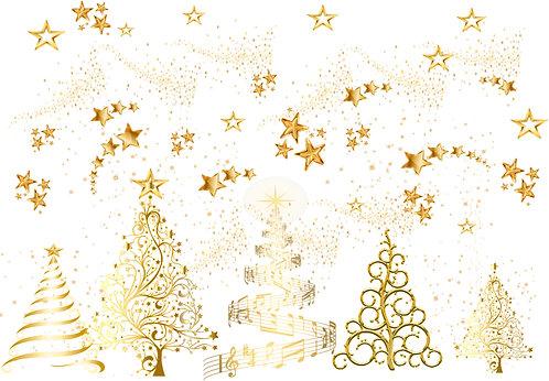 Christmas - Golden Trees Fabric