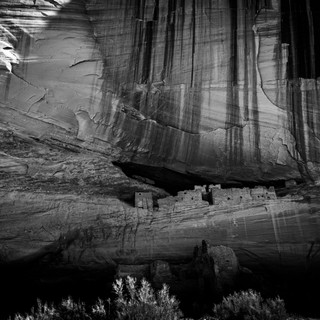 Canyon de Chelly Cliffside Dwellings B&W