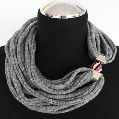 Collana di stoffa grigio screziato 4