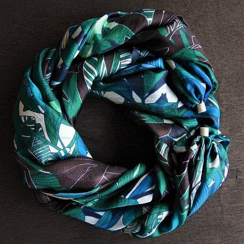 Collana lunga di seta Fantasia Blu-Verde