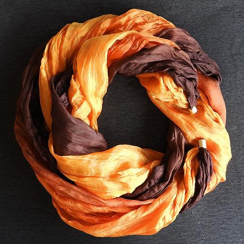 Seidenkette-Lang Orange-Braun