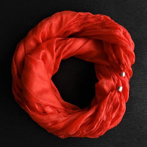 Seidenkette-Lang Rot-Uni