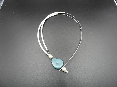 Halskette Tagua bianco/petrolio 46cm