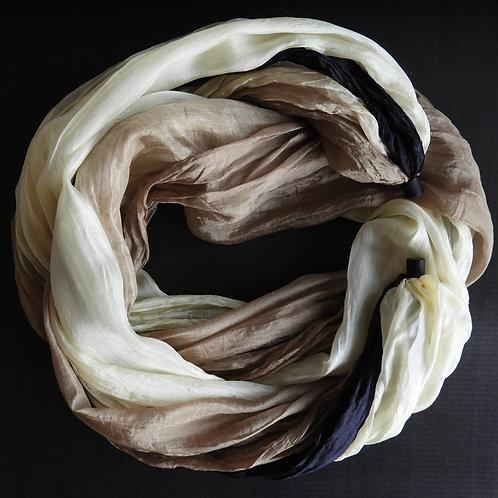 Collana lunga di seta Beige-Ècru-Nero