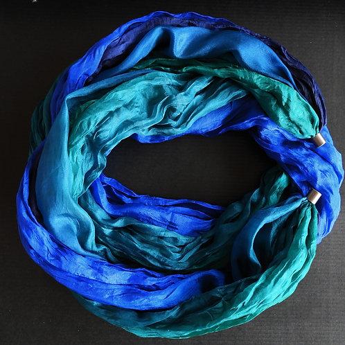 Collana lunga di seta Royal-Blu scuro-Verde