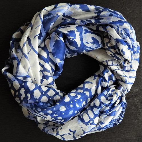 Collana lunga di seta Fantasia Royal-Bianco