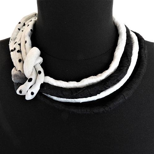Collana di seta Pauline nero/bianco 48cm