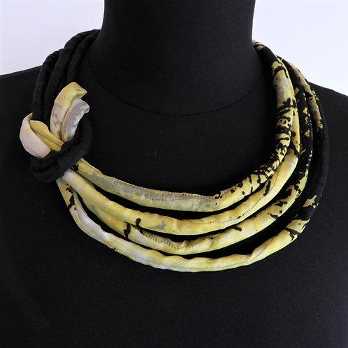 Collana di seta Pauline nero/giallo   50cm