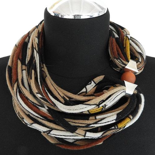 Collana di stoffa beige/marrone 23