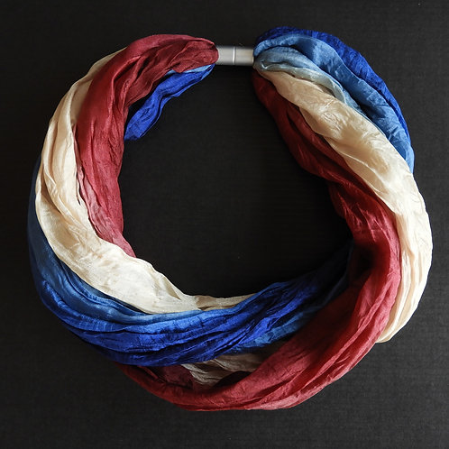 Collana di seta Blu-Beige-Bordeaux