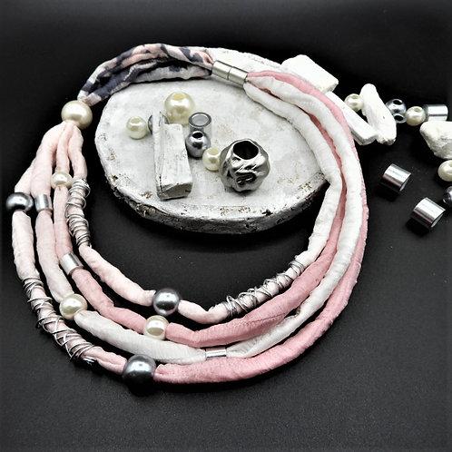 Seidenkette Dakar rosa  49cm