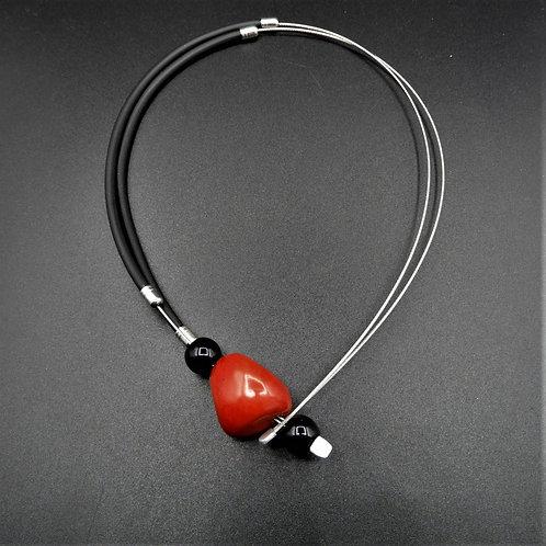Halskette Tagua  nero/rosso 46cm
