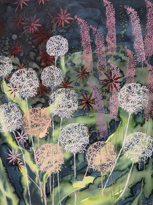 Alliums dark A2 limited edition print