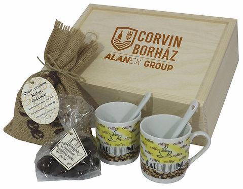 Corvin Coffee szett tolótetős fadobozban
