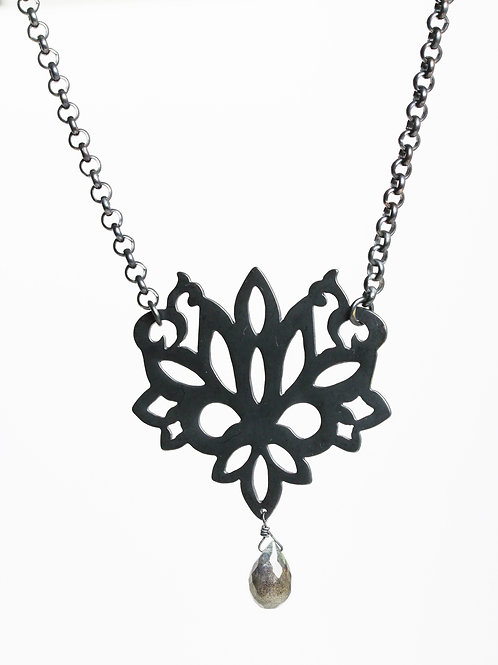Lotus Necklace oxidized with labradorite