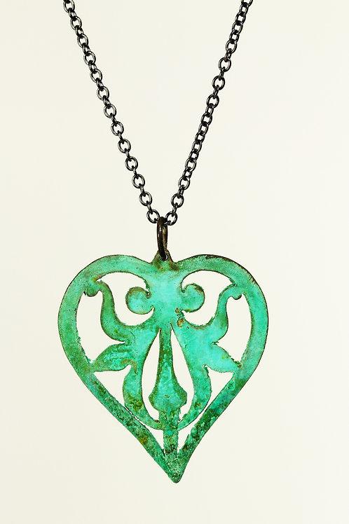 Verdigris Nouveau Heart Pendant