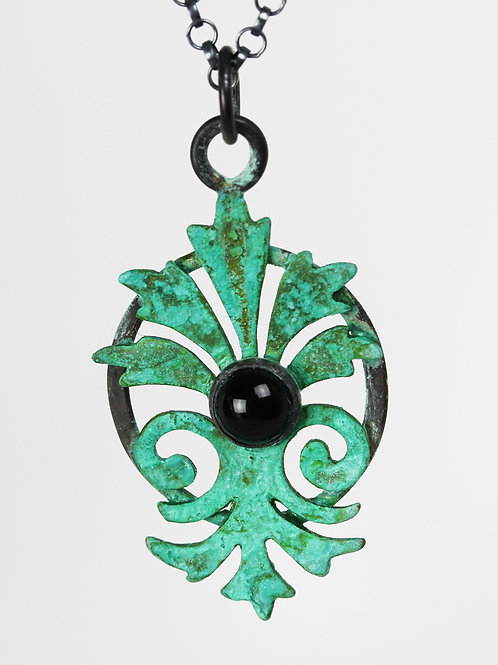 Verdigris Pendant with black onyx