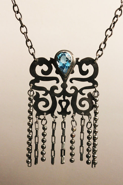 Chinese Chain Necklace with blue topaz