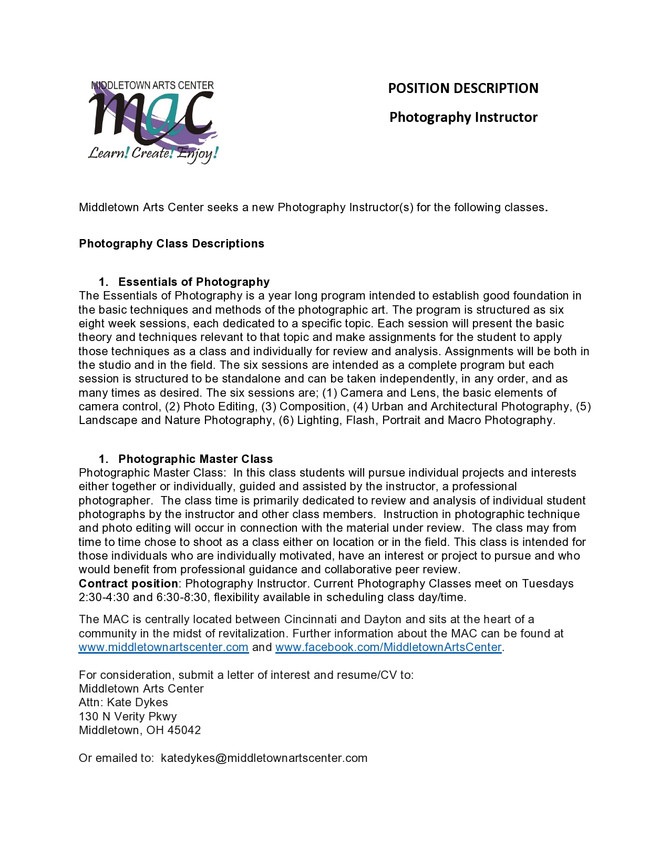 MAC seeks new Photography Instructor