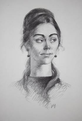 Bleistiftzeichnung - Sieh zur Seite