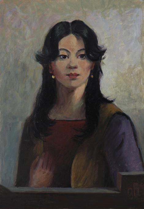Ölgemälde - Junge Frau mit schwarzem Haar