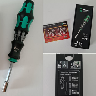 Screwdriver handle with 6 bits