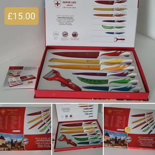 6 piece multicolour knife set + peeler