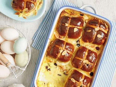 Hot Cross Bun Vanilla Baked Pudding