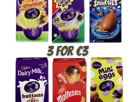 Aldi drops prices on branded Easter Eggs, now 3 for €3!