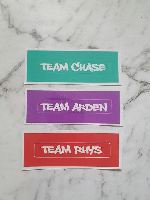 Team Stickers x 3 (vinyl decals)