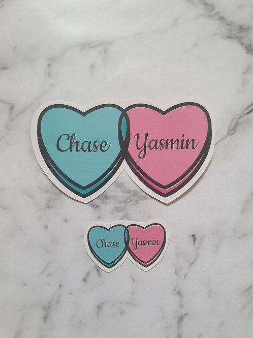 Chase and Yasmin heart stickers mini + large