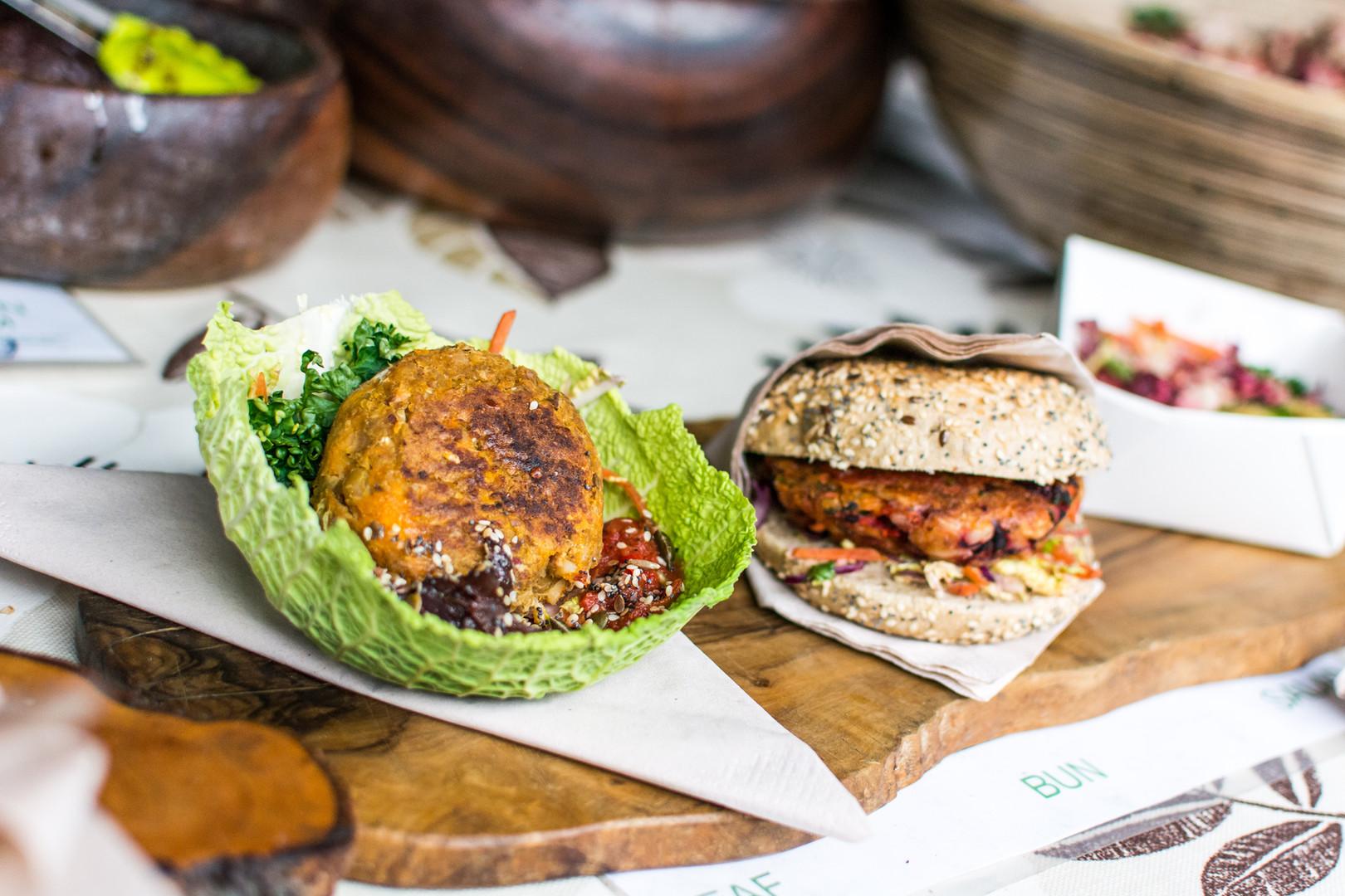 Saludable hamburguesa vegetariana