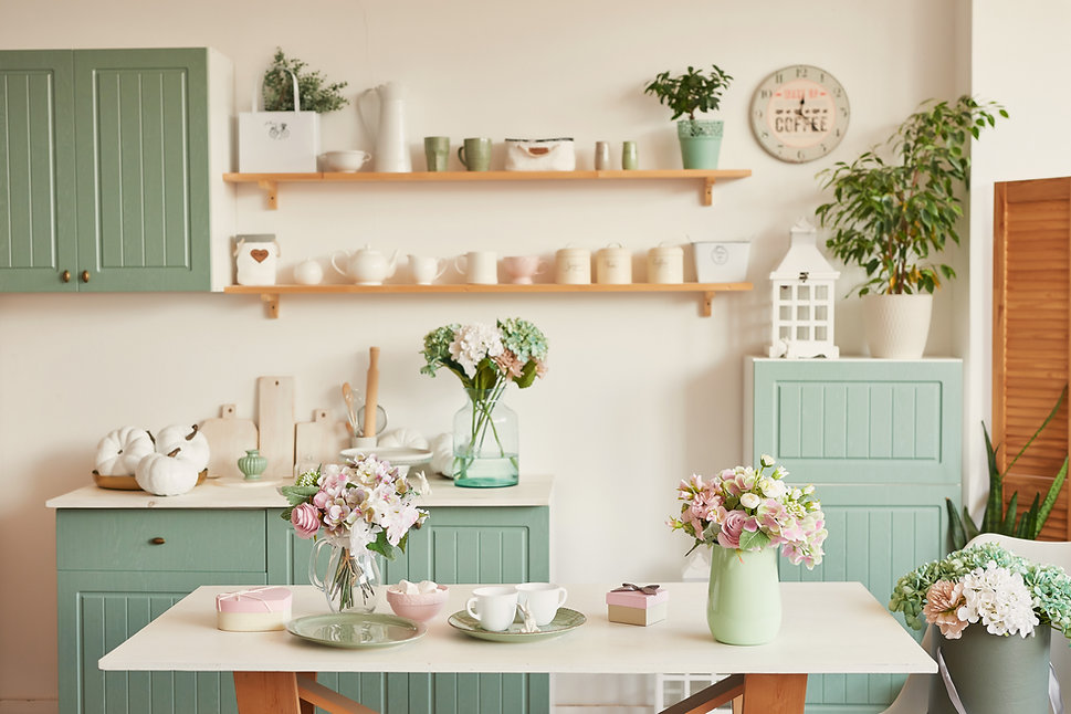 bright kitchen in the style of Provence,
