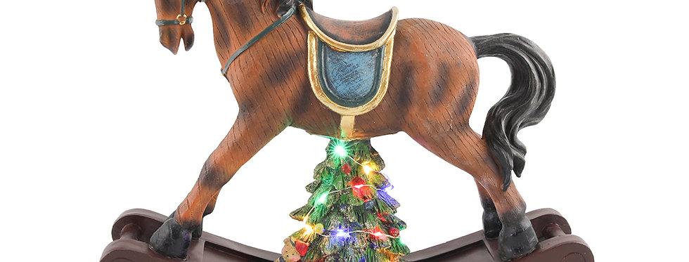 Gynge hest med juletræ under